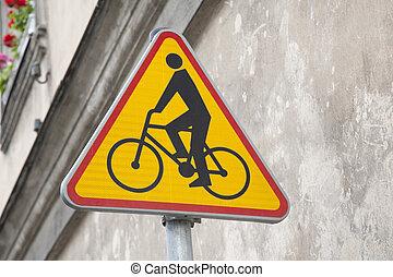 gele, cycling, meldingsbord