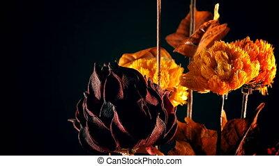 gele, en, rode bloemen