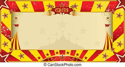 gele, en, rode grunge, circus, uitnodiging