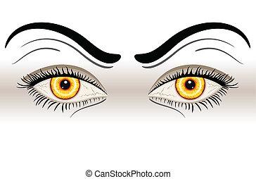 gele, eyes, kwaad