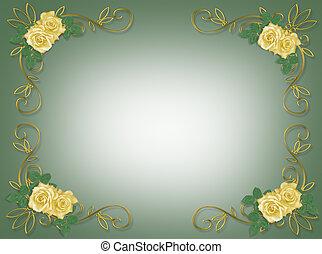 gele, frame, trouwfeest, rozen