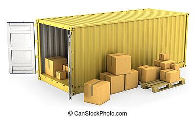 gele, geopend, container, met, veel, van, karton, dozen