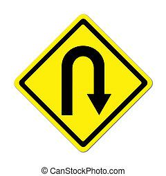 gele, gevaartekens, u-turn, roadsign