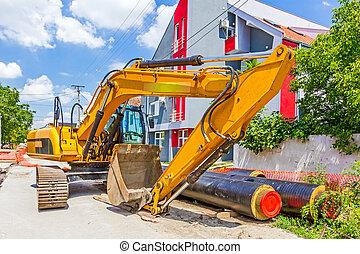 gele, graafwerktuig, op, gebouw stek, in, stedelijke , conciliatie