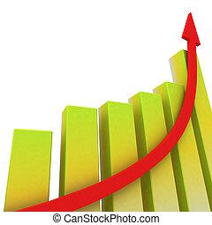 gele, grafiek, optredens, gestegen, winst