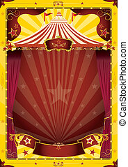 gele, groot bovenst, circus, poster