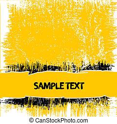 gele, grunge, achtergrond
