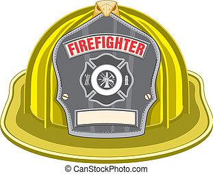 gele, helm, brandweerman