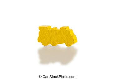 gele, houten speelgoed, trein