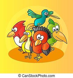 gele, illustratie, gekke , vogels, achtergrond, karakters