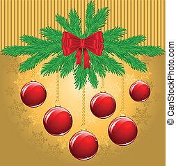 gele, kerstmis, achtergrond
