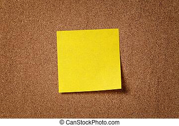 gele kleverige aantekening, plank, herinnering, kurk