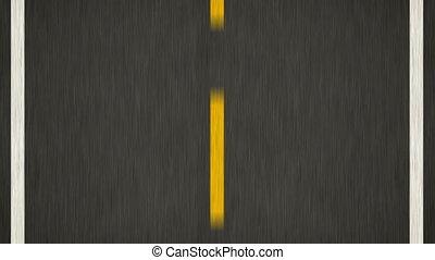 gele lijn, op, nieuw, asfalt, road., bovenzijde, overzicht.