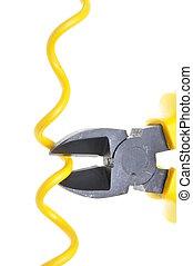 gele, metaal, nippers, en, kabel