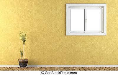 gele, muur, met, een, venster