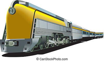 gele, ouderwets, trein