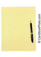 gele, papier, en, pen