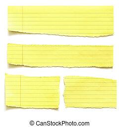 gele, papier, gehuil