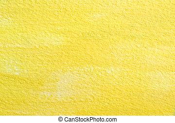 gele, papier, textuur, achtergrond, acryl, of