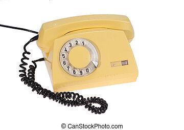 gele, retro, telefoon