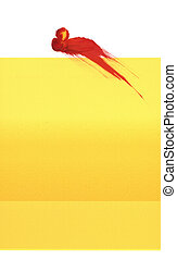 gele, rood, splat
