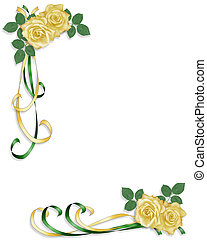 gele rozen, en, satijn, linten