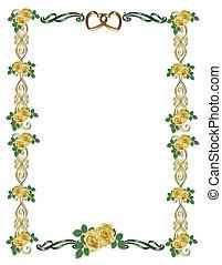 gele rozen, trouwfeest, grens