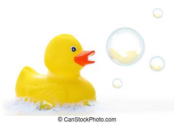 gele rubbereend, in, badschuim