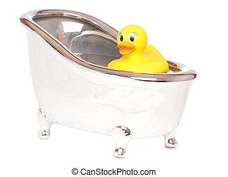 gele rubbereend, in, een, bad