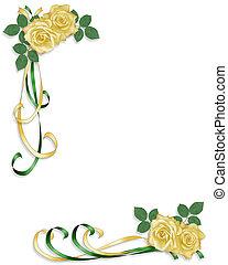 gele, satijn, linten, rozen
