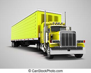 gele, schaduw, 3d, achtergrond, render, schamelaanhanger, grijs, vrachtwagen
