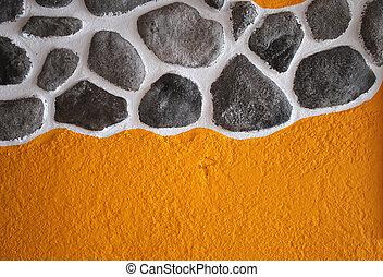 gele, schilderij, steentextuur, behang, met, griekse , model