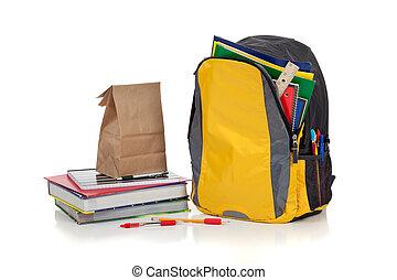 gele, schooltas, met, schoolbenodigdheden