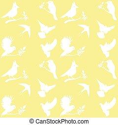 gele, silhouettes, vector, verzameling, achtergrond, vogel