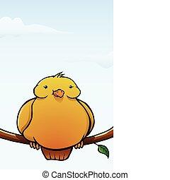 gele, spotprent, dik, vogel