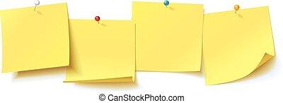 gele sticker, gespeld, drukknop, met, gekrulde, hoek,...