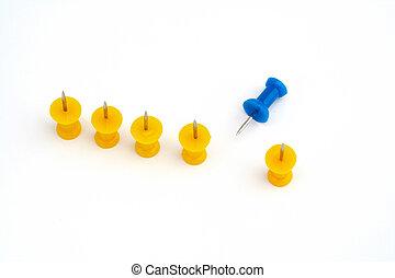 gele, team, met, brandpunt, op, de, leider, blauwe