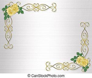 gele, trouwfeest, rozen, uitnodiging