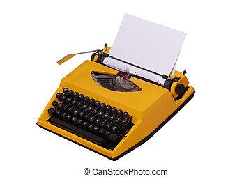 gele, typemachine, met, papier