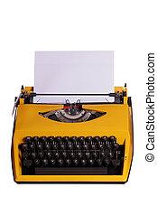 gele, typemachine, met, witte , papier