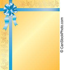 gele, vector, kaart, met, blauw lint