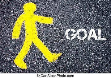 gele, voetganger, figuur, lopen naar, doel