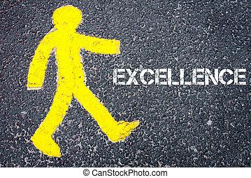 gele, voetganger, figuur, lopen naar, voortreffelijkheid