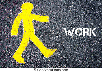 gele, voetganger, figuur, lopen naar, werken