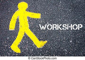 gele, voetganger, figuur, lopen naar, workshop