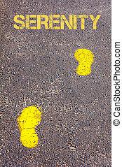 gele, voetsporen, op, trottoir, naar, sereniteit, boodschap