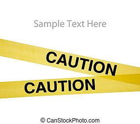 gele, voorzichtigheid, cassette, op wit, met, de ruimte van...