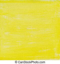 gele, watercolor, abstract, met, doek, textuur