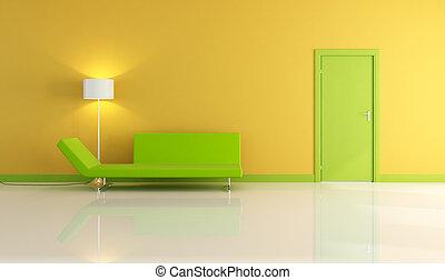 gele, woonkamer, met, groene deur