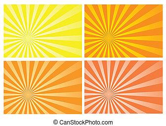 gele zon, barsten, straal